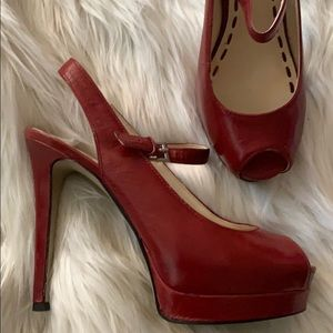 Enzo Angiolini red leather platform peep